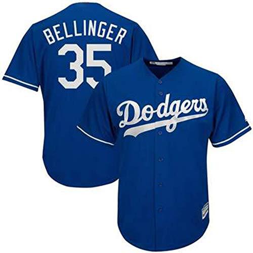 Herren Baseball Trikot Weiß T-Shirt-35# Bellinger Los Angeles Dodgers Unisex Training Uniform Fans T-Shirt Mesh Schnelltrocknendes Kurzarm Fans Sweatshirt-Blue-XXL(190.195CM)