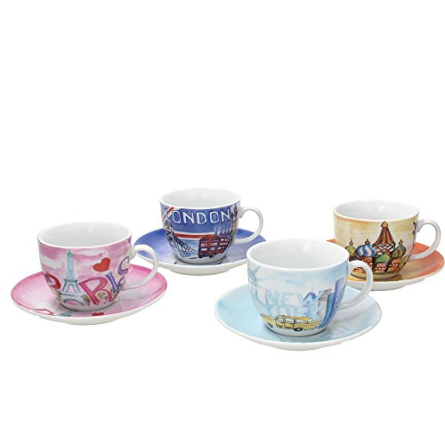 Tognana IR085363381 Set Tazze tè Iris City, Porcellana, Multicolore, 8 unità