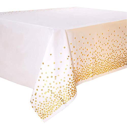 "SUNSHINETEK 2 Pack Manteles Desechables Cubiertas de Mesa de plástico Confeti de Puntos de Oro Blanco Manteles rectangulares para Fiestas 54 ""x 108"""