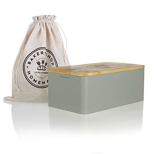 LARS NYSØM® Brotkasten I Brotbox aus Metall mit Brotsack aus Leinen für langanhaltende Frische I Brotdose mit hochwertigem Bambusdeckel verwendbar als Schneidebrett I 34x18.5x13.5cm (Sage)