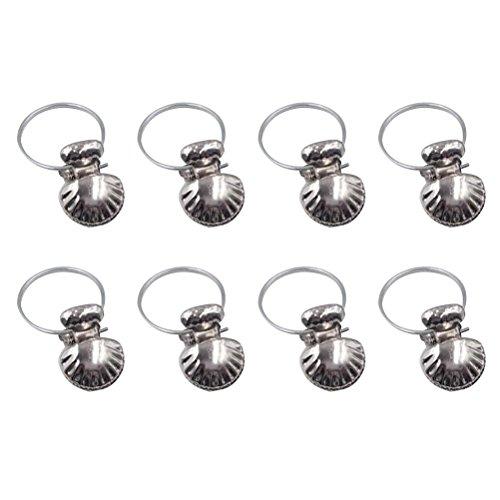 WINOMO 8Pcs Gardinenstange Clip Ringe Drapierung Clips Silber Edelstahl Shell Fenster Vorhang Clamp Kleidung Drapierung Haken Klemmen