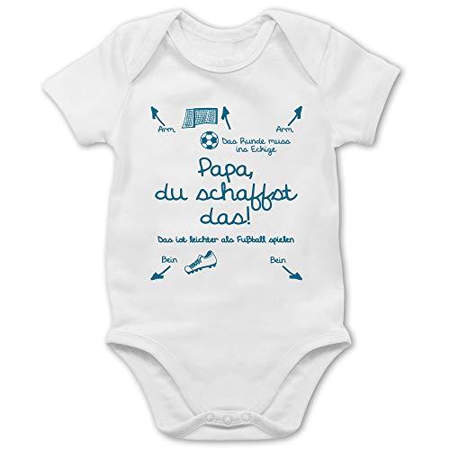 Shirtracer Strampler Motive - Papa du schaffst das Fußball Junge - 1/3 Monate - Weiß - Babybody mit Spruch - BZ10 - Baby Body Kurzarm für Jungen und Mädchen