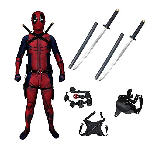 KIDsportxie Disfraz de Deadpool para cosplay con 2 espadas de poliuretano, para adultos, niños, cumpleaños, Halloween, Navidad, fiesta, mono, traje de superhéroes, traje rojo para niños (115 - 125 cm)