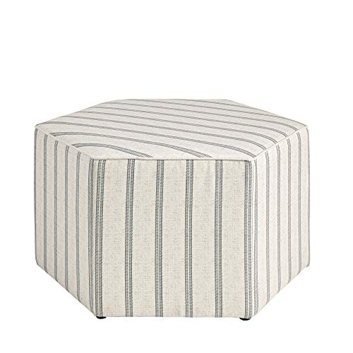 "MARTHA STEWART Ellen Coffee Table - Solid Wood Frame, Soft Fabric, Large Accent Ottoman Modern Foam Padded Top Footstool Cocktail Living Room Furniture Natural, 32"" X 32"" X 18"", Grey Stripes"