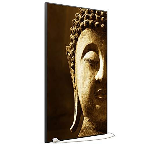 STEINFELD Bild Infrarotheizung mit Thermostat   Made in Germany   viele Motive 350-1200 Watt Rahmen schwarz (900 Watt, 025h Buddha)