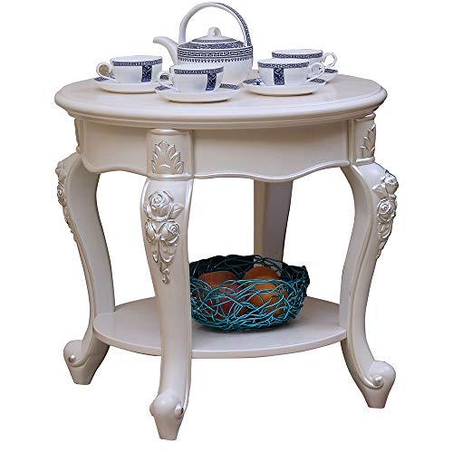 Axdwfd Table basse, canapé en bois massif, table d'appoint de salon, table de chevet élégante, table ronde (blanc)