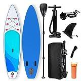 Harsso Tabla Hinchable Surf Stand Up Paddle Board 320x80x15cm, Sup Paddle Remo Ajustable, con Bomba de Doble Acción, Bolsa de Espalda Caja de Reparación Leash Alerón