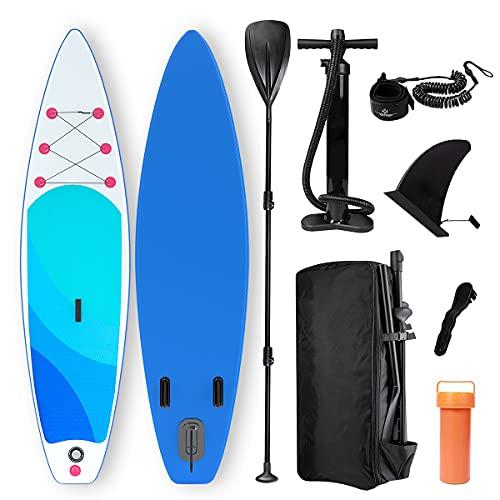 Harsso Stand Up Paddle Board Gonfiabile, SUP Tavola da Surf con Pompa ad Aria, Kit con Pagaia, Scatola di Riparazione, Pagaia Regolabile, Linea di Sicurezza 320x80x15cm