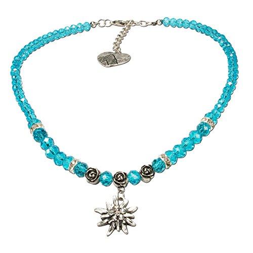 Alpenflüstern Perlen-Trachtenkette Fiona Crystal mit Strass-Edelweiß klein - Damen-Trachtenschmuck Dirndlkette türkis DHK155