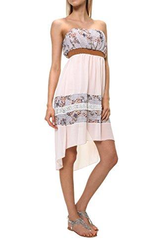 Hailys Damen Bandeau Kleid Off Shoulder Sommerkleid (L, Rose)