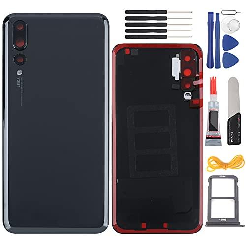 YHX-OU, 6,1 Zoll Batteriebdeckung geeignet für Huawei P20 PRO, Ersatz für hintere Abdeckung + Installationswerkzeug +1 SIM Card Tray (Schwarz).