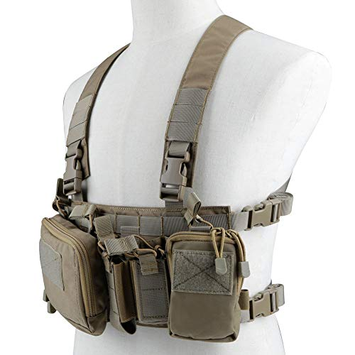 XUE Chaleco Tactico para Hombre Airsoft Militar Caza Ejercito Policial Trabajo Paintball Camuflaje Molle Accesorio mit 5,56 9mm Porta Cargador Multibolsillos