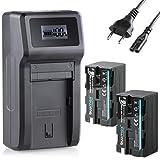 Blumax 2X Akku NP-F750 / NP-F550-4000mAh + Turbo-Ladegerät   kompatibel mit Sony NP-F970 NP-F960 NP-F990 für Blitzgeräte Videoleuchten Fieldmonitore