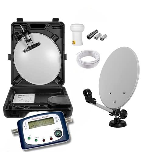 Max-X HD Mobile Camping Sat Anlage im Koffer 40cm Schüssel + Digital SATFINDER + LNB 0,1 10m Kabel für HDTV UHD 3D 4K geeignet (Sat-Finder mit analoger Anzeige, Set im Koffer)