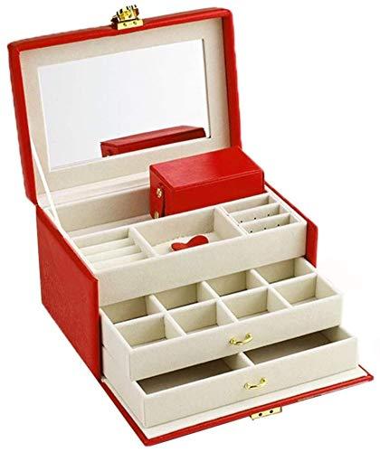 Regalo para mujeres Cajas de joyería Caja de joyería de cuero Caja de almacenamiento para joyería La gran capacidad con espejo Metal Lock Jewelry Showcase para compromiso de boda Regalos de Año Nuevo