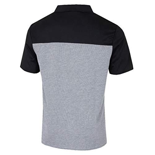 Island Green Men's Golf Laid on Stripe Flexible Breathable Polo Shirt Top, Black/Carbon Black, XL