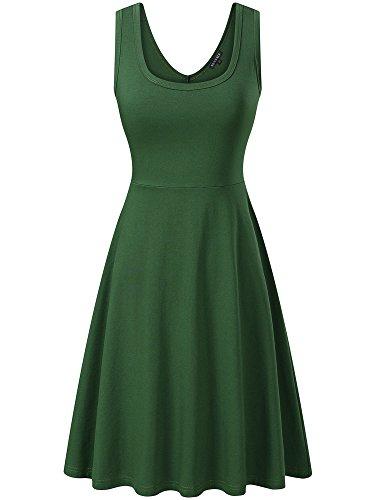 FENSACE Womens Sleeveless Scoop Neck Summer Beach Midi A Line Tank Dress, Green, Medium