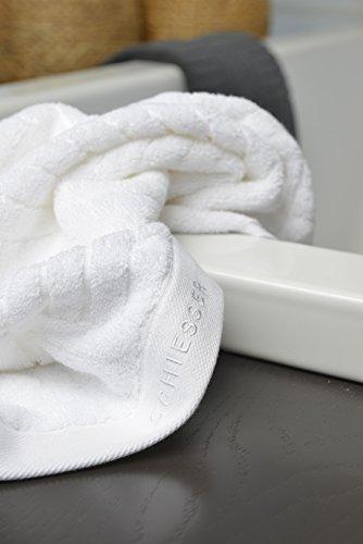Schiesser Premium Duschtuch 70x140cm, Weiß, Anthrazit und Türkis (Weiß)