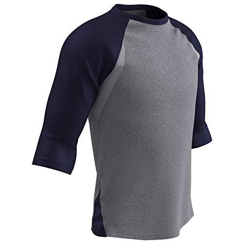 Champro Extra Innings 3/4 Arm Baseball Shirt; 2XL; grau, Unisex-Erwachsene Herren, Extra Innings 3/4-Ärmel Polyester Baseball Shirt, Bs25agrny2x, Graue, marineblaue Ärmel, XX-Large