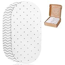 2 sábanas bajeras ajustables mimaDu® para minicuna, capazo, carro, cochecito, funda capazo universal 75x35 / 78x36/ 80x35 / 80x40 cm – Pack de sábanas suaves 100% algodón Oeko-Tex para colchón de bebé