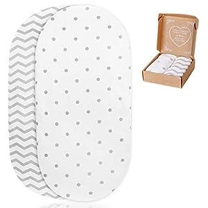 2 sábanas bajeras Ajustables mimaDu® para minicuna, capazo, Carro, Cochecito (70x36 / 80x35 / 80x40 cm) – Pack de sábanas Suaves 100% algodón Oeko-Tex para colchón de bebé