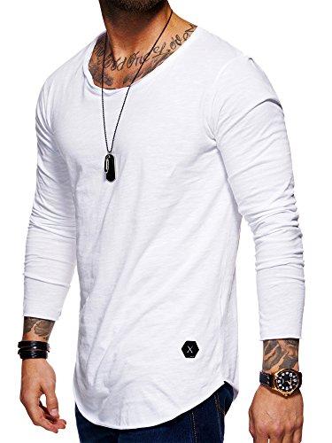 behype. Herren Oversize Basic Longsleeve O-Neck T-Shirt 30-3751 Weiß M