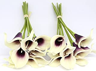 KRexpress 18pcs Home Garden Hotel Party Event Christmas Wedding Gift Decoration Artificial Flowers Calla Lily,Purple in White