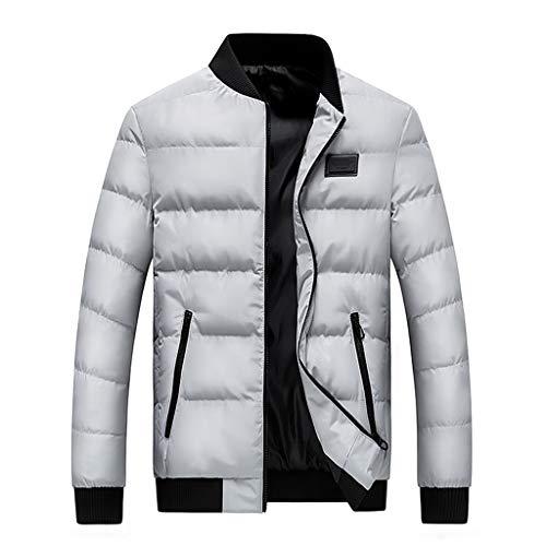 Kaiki Herren Winterjacke Daunenjacke Winterjacke Hooded Puffer Jacket Langarm Winter Jacke Steppjacke Winterjacke gefüttert mit Stehkragen (2XL, Weiß)