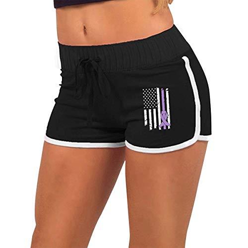 Longing-summer Alluringy Mini Shorts para mujer con diseño de bandera de Lupus para el cáncer, 1 cintura baja
