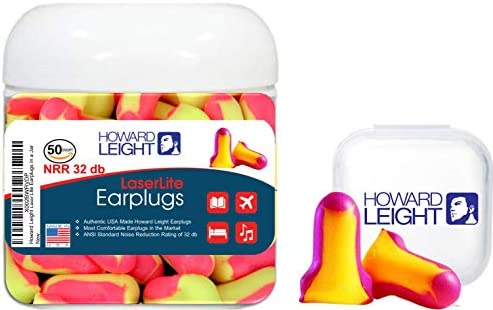 Howard Leight Laser Lite Foam Disposable Earplugs for Sleeping Blocking Snoring Sounds 50 Count product image