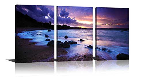 Purple Wall Art for Home Decor Sunset Modern Oil Painting Seascape Printed on Canvas Hang in Bedroom Living Room 16x24in