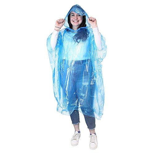 eBuyGB Lot de 4 ponchos de pluie imperméables Transparent M bleu