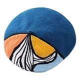 BYMORISOT Boina sombrero de lana para mujer Newsboy Caps en colores brillantes con estilo de pintura al óleo para mantener caliente y protección contra el viento
