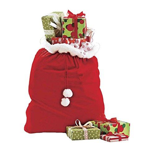 Velvet Santa's Gift Sack with Cord Drawstring