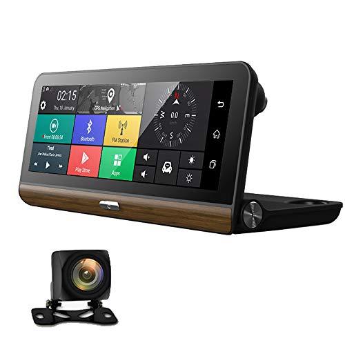MEGAN Coche 4G / WiFi Dash CAM HD Lente Dual DVR del Coche Tablero GPS Cámara del automóvil, Advertencia de Salida de Carril, Aplicación de visualización remota, Transmisión FM, Alarma remota