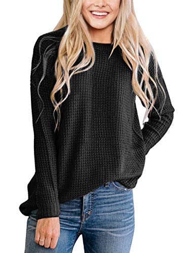 MEROKEETY Women's Long Sleeve Waffle Knit Sweater Crew Neck Solid Color Pullover Jumper Tops Black