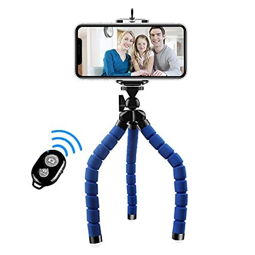 Abafia Treppiede per Telefono, [aggiornato] Mini treppiede da Viaggio Flessibile per Smartphone Gopro Sport Camera Cellphone 5.5 Supporto Regolabile con otturatore remoto Wireless Bluetooth (Blu)