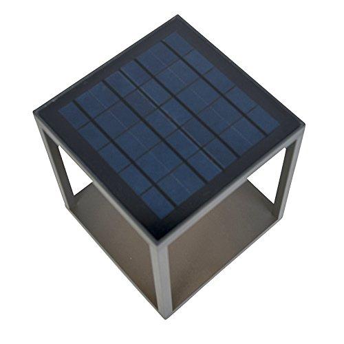 QAZQA Moderno Baliza moderna gris oscuro solar PIR - VOLENDAM Aluminio Cuadrada...