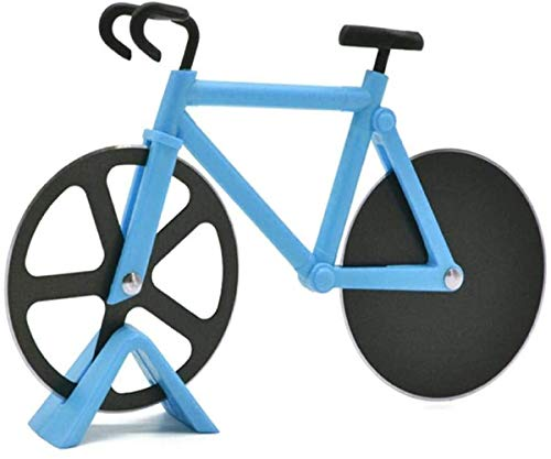 Bicycle Pizza Cutter Wheel,New Design Stainless Steel Pizza Knife,Non-stick Bike Pizza knife With a Stand best for Pizza Lovers,Cool Kitchen Gadget Pizza Cutter (blue)