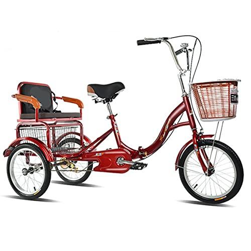 Triciclo para adultos, triciclo de la fuerza de ancianos para adultos, plegable, 3 ruedas, para ir de compras con asiento trasero y cesta de verduras (color rojo grande)