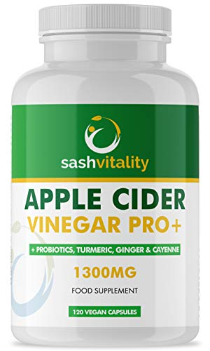 Raw Apple Cider Vinegar Complex 1300MG with Turmeric, Ginger, Probiotics 200 Billion & Prebiotics, Cayenne Pepper, Turmeric, Ginger, Black Pepper & Flaxseed - 120 Vegan Certified Capsules | UK Made