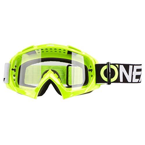 O'NEAL | Motorcross-Brille | Motorrad Enduro | Modernes Rahmendesign, Glas aus hochwertiger 1,2 mm-3D-Linse, 100% UV-Schutz | B-10 Goggle TWOFACE | Klar Neon-Gelb | One Size