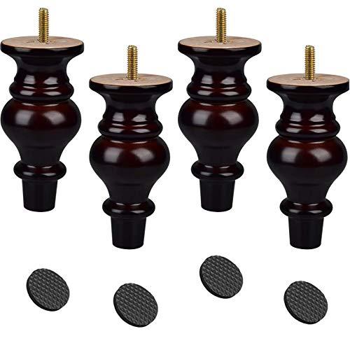 Piernas de madera de 12 cm, 4 piezas de madera de nogal oscuro de repuesto para moño con almohadilla de pie para sofá, gabinete, sofá, tocador, silla de 10 cm
