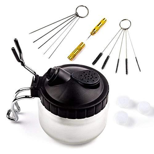 Awsuc Olla de limpieza de aerógrafo, kit de limpieza de aerógrafo con cepillos de limpieza, aguja de limpieza, boquilla de limpieza, botella de lavado, herramientas de reparación de extracción