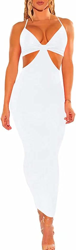 Sexy Club Outfits for Women Halter Hollow Backless Bodycon Party Night Evening Long Maxi Dress