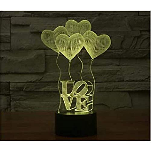 3D Love Heart Led Nachtverlichting Ballon Romantische Lamp 16 Kleuren Touch Tafellampen Verjaardagsverlichting Valentijnsdag Usb