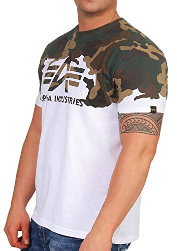 Alpha Industries Lost Camo T Herren T-Shirt 100% Baumwolle, Größe:XXL, Farben:Woodland Camo