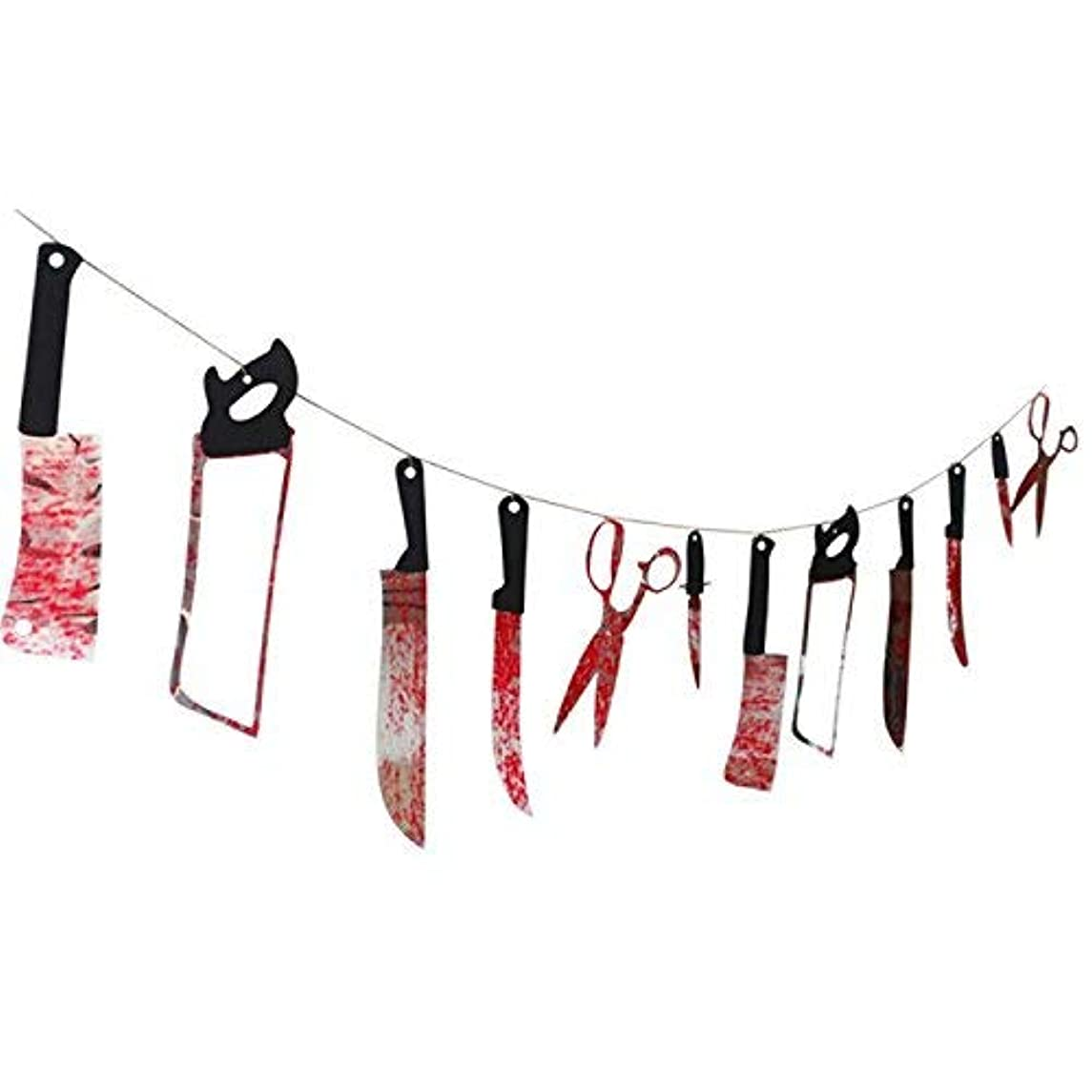 Kesoto 12 PCS Halloween Hanging Bloody Knife Weapons Garland Banner Halloween Zombie Vampire Party Decorations Supplies - 7.8 Ft Long