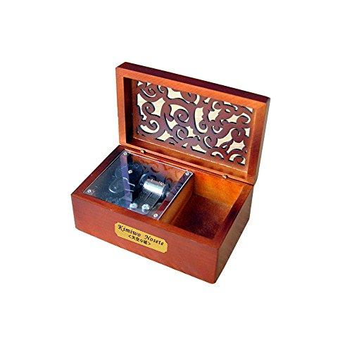 Youtang Boîte à musique créative en bois avec couvercle creux 18 notes Motif La Reine des neiges