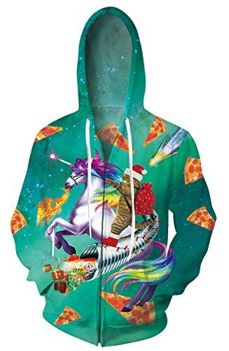 Goodstoworld Kapuzenjacke Herren Damen Reißverschluss 3D Grün Weihnachtskatze Lässig Langarm Sportjacken Karneval Neuheit Funny Ugly Weihnachtsjacke Einhorn XXL
